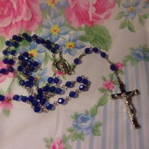 Bright Blue Rosary Prayer Beads